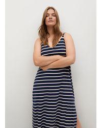 Violeta by Mango Striped Jersey Dress - Blue