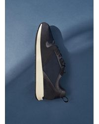Mango Suede Mixed Sneakers Blue