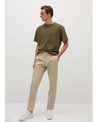 Mango Pocket Cotton T-shirt Khaki - Natural