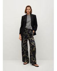 Mango Flowy Printed Trousers Black
