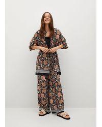 Mango Floral Print Kimono Dress Black