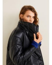 Mango - Leather Quilted Coat - Lyst