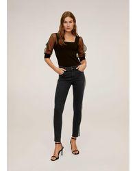 Mango Skinny Jeans Met Glitters - Zwart