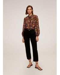 Mango - Floral Print Blouse Black - Lyst