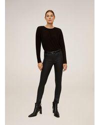Mango - Coated Isa Crop Skinny Jeans Black - Lyst