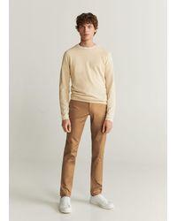 Mango Slim Fit Chino Trousers Tobacco Brown