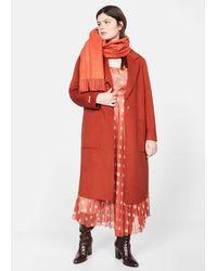 Violeta by Mango Handmade Wool Coat - Orange