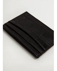 Mango Croc-effect Card Holder Black