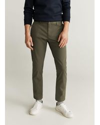 Mango Tapered Fit Cropped Trousers Khaki - Natural