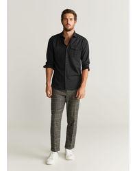Mango Wool Regular-fit Shirt - Black