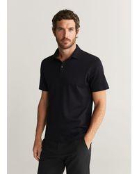 Mango Cotton Basic Polo Shirt Black