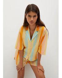 Mango Printed Flowy Shirt - Yellow
