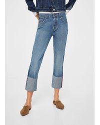 Mango - Turn-up Hem Straight Jeans - Lyst