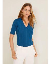 Mango - Ribbed V-neck T-shirt - Lyst