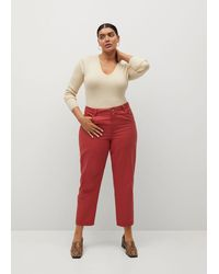 Violeta by Mango Slim-fit Trousers - Red