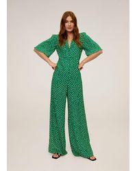 Mango Long Printed Jumpsuit - Green