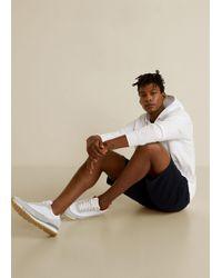 Mango Mistral Leather Appliqué Trainers - White