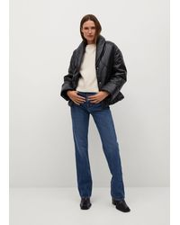 Mango Quilted Leather Jacket - Black