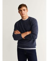 Mango - Structure Wool Cotton Sweater - Lyst