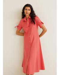 fc472e042183e9 Mango Flowy Shirt Dress Red in Red - Lyst