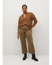 Violeta by Mango Culotte Frayed Jeans - Brown
