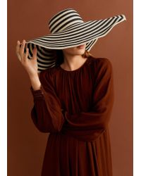 Mango - Bicolor Straw Hat - Lyst