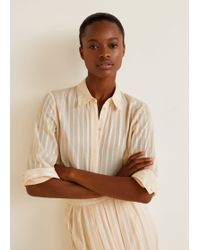 Mango - Satin Striped Shirt - Lyst