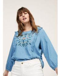 Violeta by Mango - Embroidered Denim Blouse - Lyst