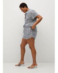 Violeta by Mango Floral Print Shorts - Blue