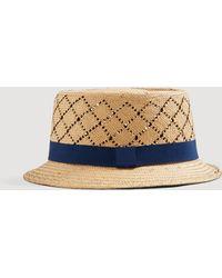 Mango Openwork Details Straw Hat - Blue