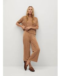 Mango Pleated Culotte Trousers - Brown