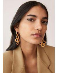 Mango Boucles d'oreilles pendantes géométriques - Marron