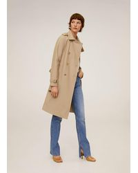 Mango Classic Cotton Trench Coat - Natural