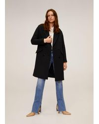 Mango Lapels Structured Coat - Black