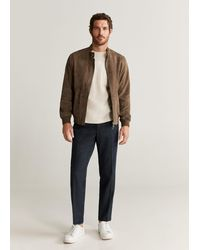 Mango Contrasting Finish Suede Bomber - Brown