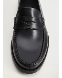 Mango Leather Penny Loafers Black
