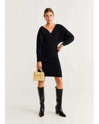 Mango Dolman Sleeve Dress Black