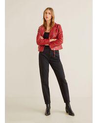 Mango Leather Biker Jacket - Red
