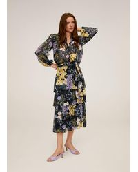 Mango - Flowy Printed Skirt Light/pastel Purple - Lyst