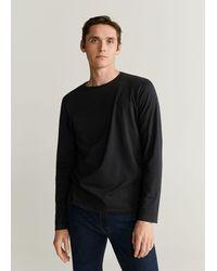 Mango Long Sleeve Cotton T-shirt Black