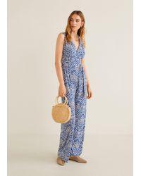 Mango Long Printed Jumpsuit - Blue