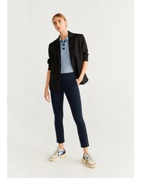 Mango Crop Skinny Trousers - Blue