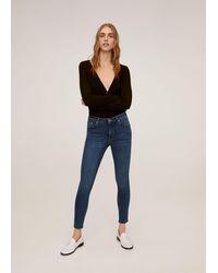 Mango - Crop Skinny Isa Jeans Dark Blue - Lyst