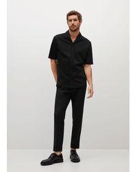 Mango Regular-fit Shirt With Bowling Neck - Black