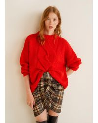 Mango - Check Corduroy Skirt - Lyst