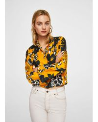 Mango - Flowered Printed Crop Shirt - Lyst