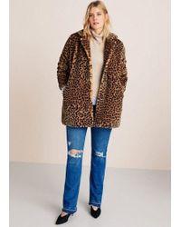 2253cb6ccc17 Mango - Animal Print Faux Fur Coat Medium Brown - Lyst