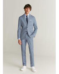 Mango Tailored Slim-fit Visgraatoverhemd - Blauw