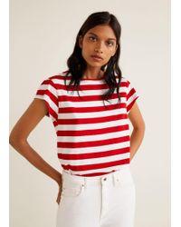 Mango - Gathered Sleeve T-shirt - Lyst