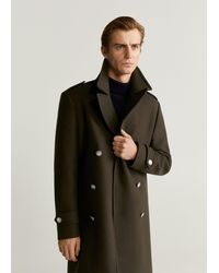 Mango Double-breasted Wool Tailored Coat - Black